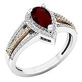 Dazzlingrock Collection 7.5X4.5 MM Pear Garnet & Round Diamond Ladies Engagement Ring, 18K White & Rose Gold, (Size 6)