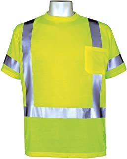 Global Glove GLO-018 FrogWear Polyester Class 3 Safety T-Shirt with 3M Scotchlite Reflective, 5X-Large, Fluorescent Yellow (Case of 50)