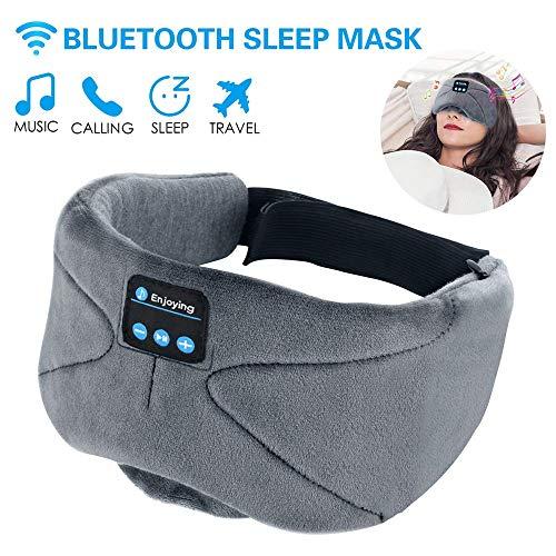 WU-Minglu WU-Minglu WU-Oogmasker, met draadloze Bluetooth 4.2, hifi-hoofdtelefoon, slaapbril, draadloze luidspreker, muziek, headset voor vliegtuig, slapen, reizen, ontspanning, voor iPhone iPad en Samsung, grijs