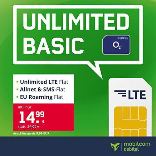 mobilcom-debitel Handyvertrag o2 Free Unlimited Basic, Unlimitierte Internet-Flat, LTE mit max. 2 MBit/s, Allnet Flat Telefonie & SMS-Flat, EU-Roaming-Flat, 24 Monate Laufzeit