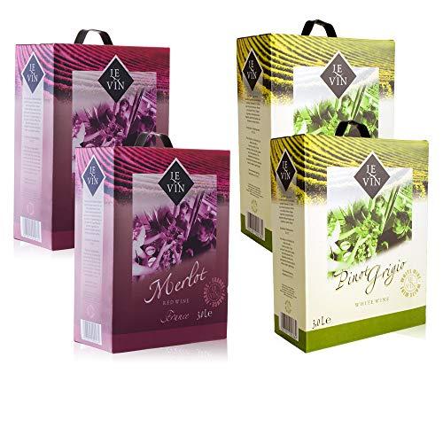 Le Vin Weinpakt 2x Merlot & 2x Pinot Grigio (4x 3,0 l) Bag-in-Box