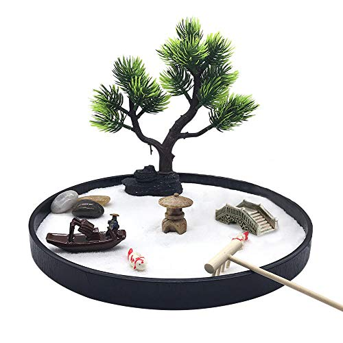 Japanese Zen Garden for Desk, Home Decor, Meditation Gifts. Zen Garden Kit Includes Sand Tray, Bonsai Tree, Rakes, Bridge Tower. Great Gifts for Home Office Accessories, and Office Desk