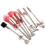 Apofly 8pcs Makeup Brushes Set Magic Sailor Moon Sakura Make-up Pinsel Werkzeugsatz Pulver Flüssigcreme Applikator Pink Drawstring Bag Enthalten (pink & Gold)