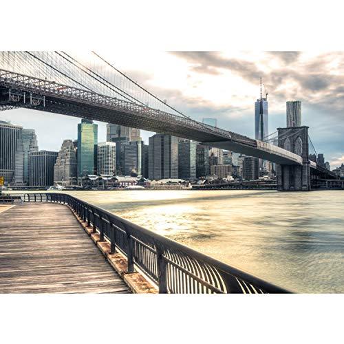 Vlies Fototapete PREMIUM PLUS Wand Foto Tapete Wand Bild Vliestapete - NEW YORK BROOKLYN BRIDGE SKYLINE - New York USA Skyline Sephia Brooklyn Bridge NYC - no. 043, Größe:200x140cm Vlies
