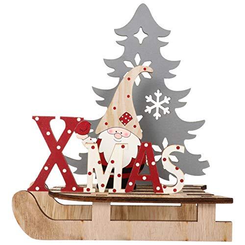 BESPORTBLE Weihnachten Holz Schriftzug Weihnachtsmann Figur Xmas Deko Aufsteller Objekt Mini Weihnachtsbaum Schlitten Weihnachten Tischdekoration Dekofigur Weihnachtsschmuck