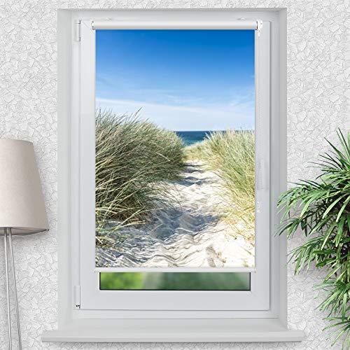 La-Melle » Rollo Motiv Ostsee Düne | Verschiedene Größen | Klemmrollo ohne Bohren | auch für Wand- oder Deckenbefestigung, Größe: B 70 x H 120 cm
