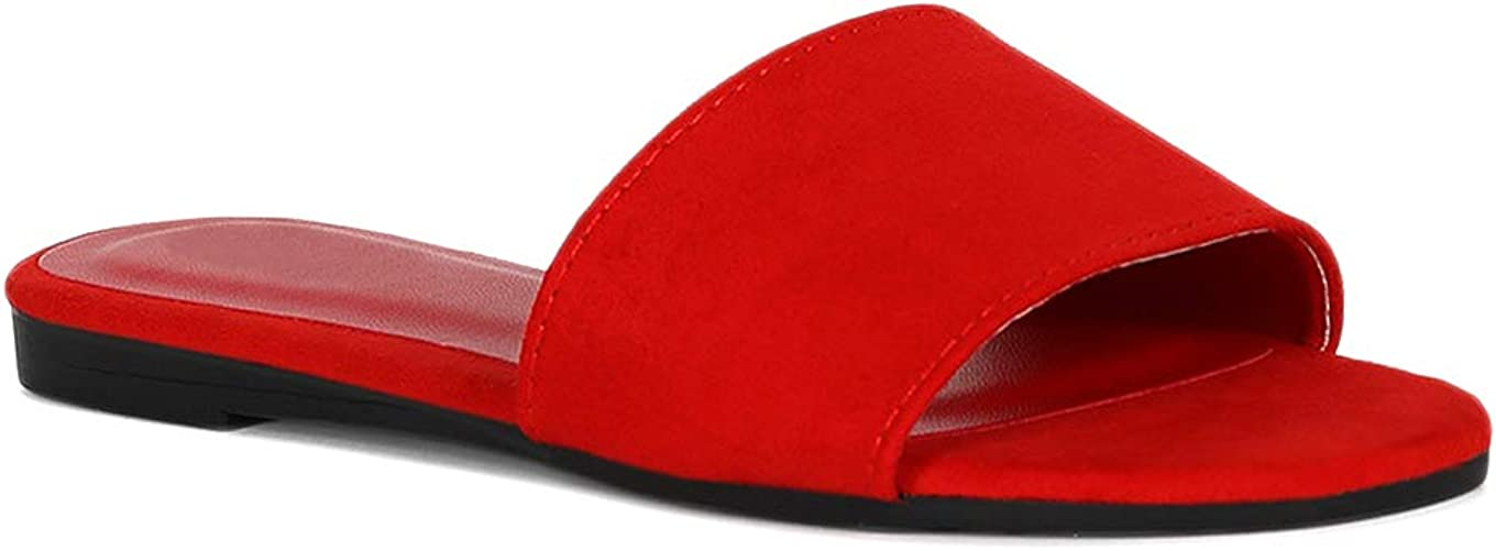 Alrisco Women Wide Band Flat Slide Sandal RE88 - Red Faux Suede (Size: 7.5)