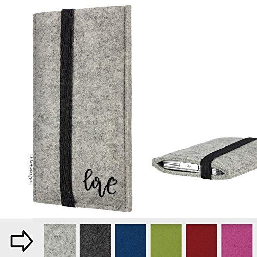 flat.design Handy Hülle Coimbra für Huawei P20 Pro Single-SIM personalisierbare Handytasche Filz Tasche Love Liebe