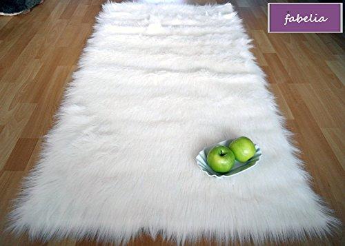 Fabelia Flokati-Stil Hochflor Shaggy Teppich Ameiny Colours - In bunten Farben und kuschelweich (Läufer/Bettvorleger, 40 cm x 200 cm, Weiß)