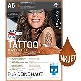 SKULLPAPER Lámina de transferencia de tatuajes temporal, aplicación individual para la impresora de inyección de tinta (6 hojas A5)