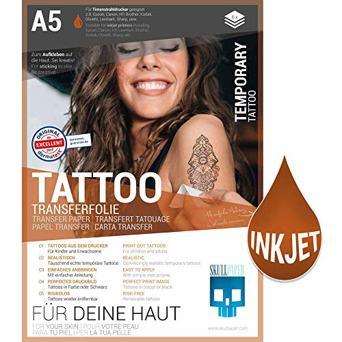 SKULLPAPER Papier transfert de tatouage temporaire pour la peau A5 - dermatologiquement TRÈS BON testé - Tatouages adhésifs - pour imprimante à jet d'encre (6 feuilles)
