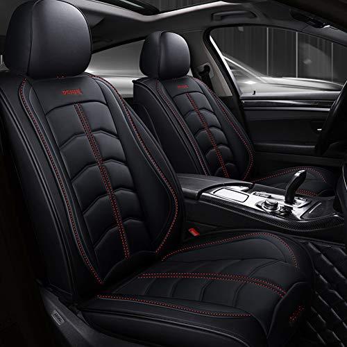 FOF Leder Auto Sitzbezüge, Atmungsaktiv Hochwertiges Leder Comfort Protector Cushion Kompatibler Airbag Mit Kissen,Schwarz