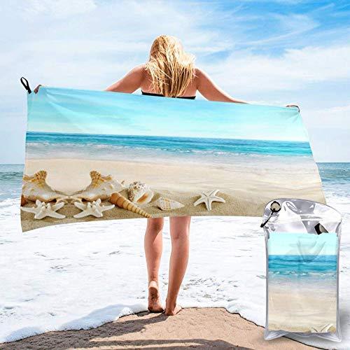FLDONG Toalla de secado rápido con impresión de arena, ultra suave, compacta, apta para camping, gimnasio, playa, hogar, 81.5 x 163 cm