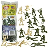 TimMee PLASTIC ARMY MEN: Green vs Tan 100pc Toy Soldier Figures - Made in USA by Tim Mee