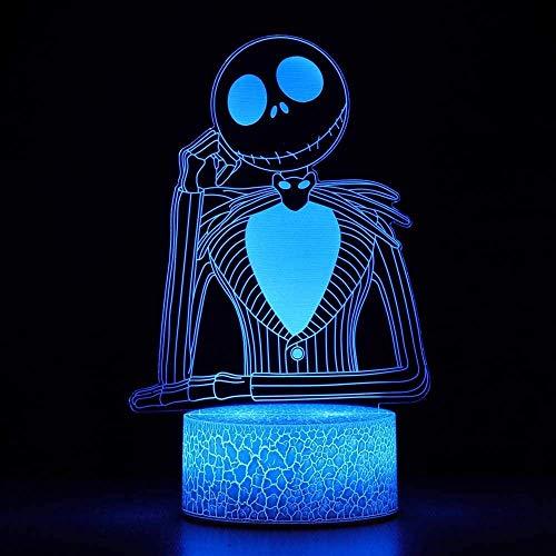 Halloween Town Calabaza Rey Jack Skellington 3D ilusión noche luz cumpleaños Navidad Festival regalos para decoración de la habitación lámpara de mesa para niños dormitorio