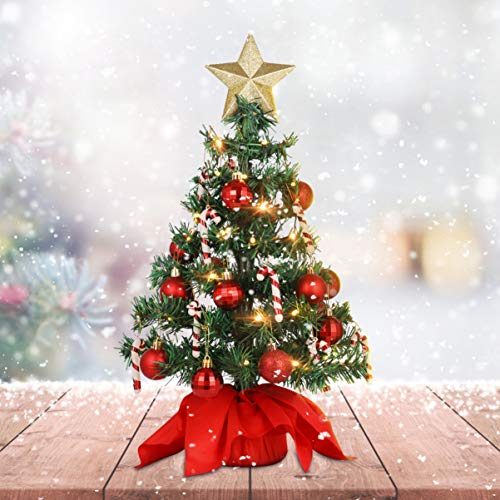 PRETYZOOM Tabletop Christmas Tree with LED Light Christmas Party Decoration 21 Mini Artificial Christmas Tree for Christmas Desktop Window Walkway Decoration