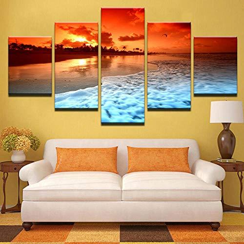 QMCVCDD Moderno Cuadro En Lienzo 5 Piezas Sunset Glow Playa Mar Ola HD Poster Pictures Paintings Home Decor Impresión Artística Fotográfico Regalo