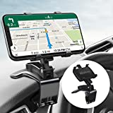 Huhoo Car Phone Mount Car Dashboard Phone Holder 360 Degree Rotation Adjustable Mobile Cell Phone Clip Mount Stand Suitable for 4-7 Inches Smartphones (3 in 1)
