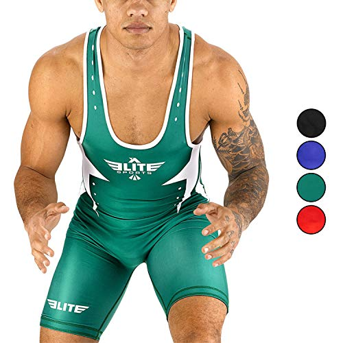 Elite Sports Men's Wrestling Singlet Uniform, Star Series Advanced Singlets for Men Wrestling t (Green, X-Small)