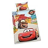 Herding 2429060063412 Disney Brave Cars ropa de cama, funda de almohada 40 x 60 cm y funda de edredón 100 x 135 cm, diseño de Disney