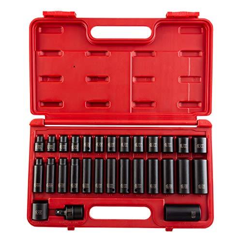 sunex socket wrenches drive socket sets Sunex 3329 3/8-Inch Drive Standard and Deep Metric Impact Socket Set, Metric, Standard/Deep, 6-Point, Cr-Mo, 8mm - 22mm, 29-Piece