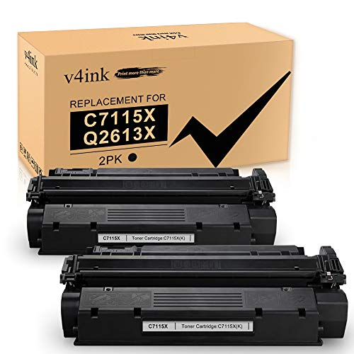 v4ink Compatible Toner Cartridge Replacement for C7115X 15X C7115A 15A Q2613X 13X to use for HP Laserjet 1200 1200N 1220 3300 1000 1005 1150 1300 3310 3320 3330 3380 Printers (Black, 2 Packs)