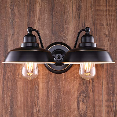 CO-Z 2 Light Rustic Vanity Light in Oil Rubbed Bronze Finish, Vintage Industrial Bathroom Wall Lighting Fixture, Metal Wall Mount Lamp for Farmhouse Bathroom Bedroom Reading Cafe.