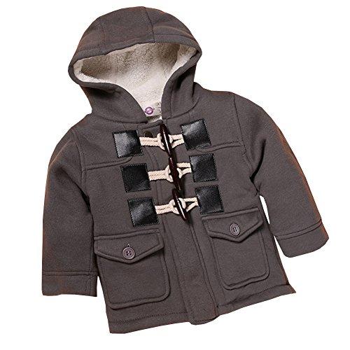 SXSHUN Baby Kinder Jungen Dufflecoat Winterjacke mit Kapuze Trenchcoat Steppjacke Kapuzenmantel Hooded Oberbekleidung Warm Fleece Duffle Mantel, Grau, 116 (Etikettengröße:120)
