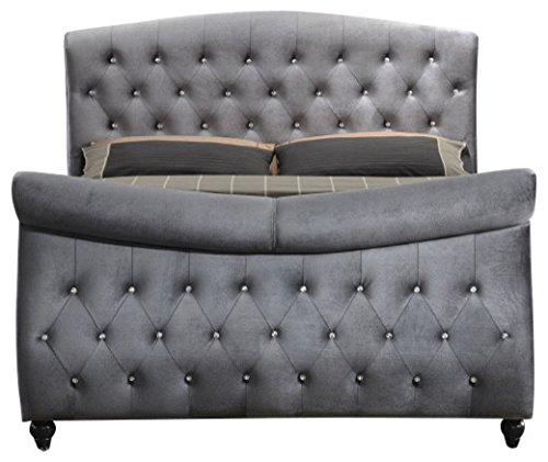 Meridian Furniture Hudson-Sleigh-Q Hudson Collection Velvet Upholstered Sleigh Bed with Crystal Button Tufting, Custom Solid Wood Legs, Grey, Queen