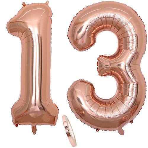 2 Luftballons Zahl 13, Nummer 13 Luftballon Rosegold Mädchen ,40