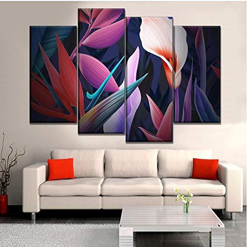 Modular Art Poster Leinwanddruck 5 Stück Abstract Blue Digital Art Fraktale Blumenmalerei Dekor Wohnzimmer Wandbild