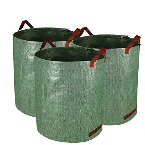 Speedsporting Gartensack, 3er 272L Gartenabfallsack aus robustem Wasserdichtes Polypropylen-Gewebe - Selbststehend und Faltbar Laubsäcke Laub, Grünschnitt, Pflanzenabfälle, Kompost Gartensäcke
