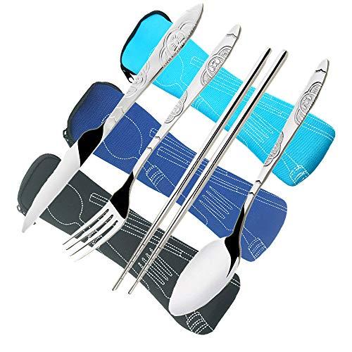 CKANDAY 3 Paquetes / 12 Piezas Juego de Cubiertos de Acero Inoxidable, Cuchillo Tenedor Cuchara Palillos con Estuche Transporte Cubertería a Prueba de Herrumbre para Viajar-Negro/Azul/Azul Claro