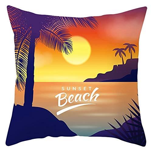 KnBoB Funda Cojin 40 x 40 cm Poliéster Sunset Beach Árbol de Coco Naranja Verde Estilo 24