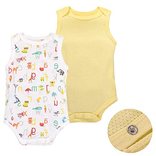 Body per neonato in 100% cotone, senza maniche, a maniche corte, con motivo a maglia, per neonati e ragazze, confezione da 2 Giallo-A. 6 Meses
