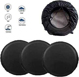 LIHNG Tire Covers for Trailer SUV Van Auto Camper, Waterproof UV Coating Protection Tire Protectors, Sun Rain Snow Protector, Universal Fits 26 inch to 29 inch Tire Diameters (Black)