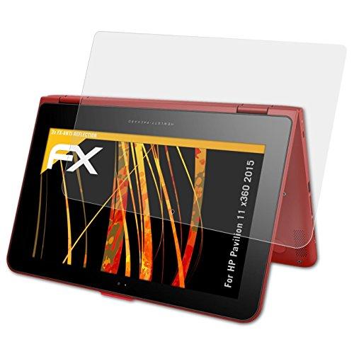 atFolix Panzerfolie kompatibel mit HP Pavilion 11 x360 2015 Schutzfolie, entspiegelnde & stoßdämpfende FX Folie (2X)
