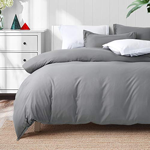 TEKAMON Luxury 3 Piece Duvet Cover Set - Ultra Soft Breathable 100% Brushed Microfiber Hotel Collection Bedding -1 Comforter Cover with Zipper Closure Matching 2 Pillow Shams, Simple(Queen Size, Grey)