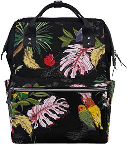 RN Art Palm Leaf Bird Reizen Rugzak Grote Capaciteit Schouder Luiertas voor Womens Mens