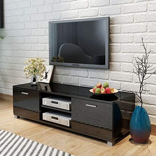 FAMIROSA Aparador para TV Negro Brillante 140x40,3x34,7 cm