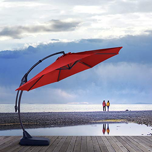 Grand patio Deluxe Napoli 11 FT Curvy Aluminum Offset Umbrella, Patio Cantilever Umbrella with Base, Brick Red