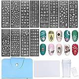 NICENEEDED Nail Art Stamping Kit con Plantillas de Sello de Uñas 12PCS, 1 estampador Claro, 1 raspador Incluido Juego de Herramientas de Sello de Uñas para Decoración de Uñas