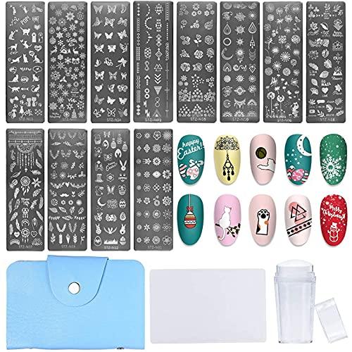 NICENEEDED Nail Art Stamping Kit con Plantillas de Sello de Uñas 12PCS, 1 estampador Claro, 1...