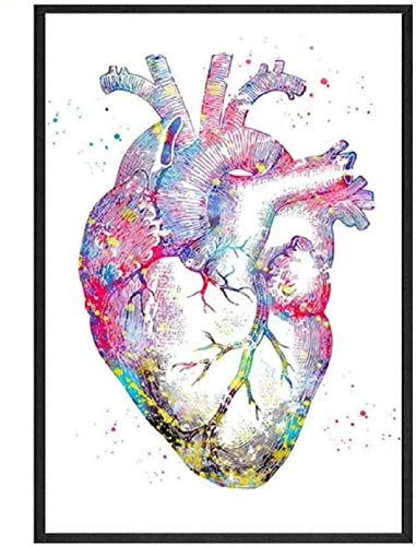 Mnnstan Puzzles 1000 Piezas Rompecabezas Acuarela Anatomía Humana Corazón Divertido Kit De Bricolaje Rompecabezas De Madera Decoración Moderna del Hogar Juego De Niños