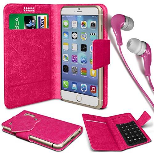N4U Online® - Gionee Elife E7 Mini PU-Leder Saugnapf Mappen-Kasten-Abdeckung & 3,5-mm-Ohrhörer Stereo-Ohrhörer - Pink