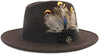 SHENTIANWEI Men Women Fedora Hat with Feather Wide Brim Hat Pop Panama Hat Outdoor Travel Church Hat Fascinator Size 56-58CM