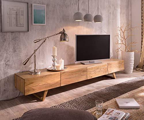 Preisvergleich Produktbild Fernsehtisch Wyatt Akazie Natur 220 cm 4 Schubladen Design Lowboard