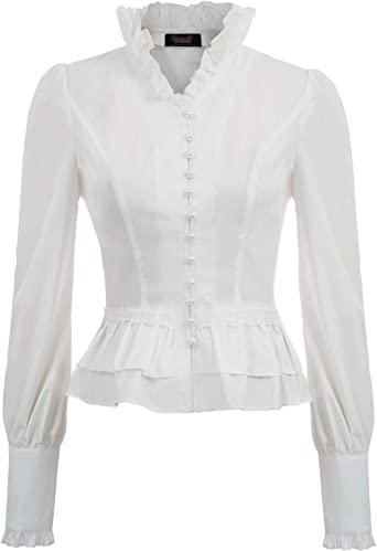 SCARLET DARKNESS Blusa Victoriana Mujer Camisa Steampunk Gótico de Encaje con Cuello Subido