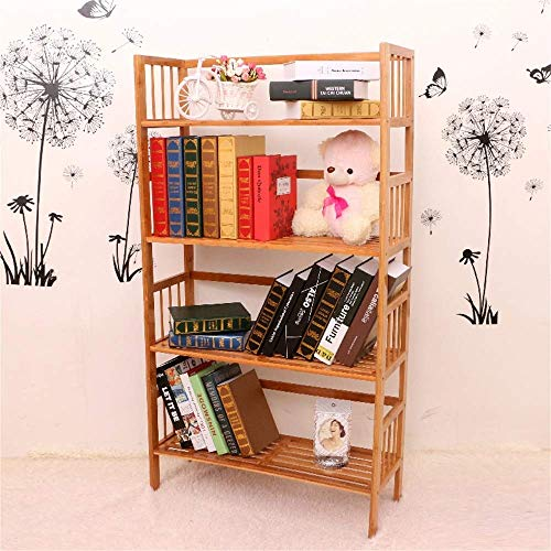 LLLKKK Racks - Estantería sencilla de bambú para libros, muebles pequeños, escritorio, librería, almacenamiento, zapatero, pequeña estantería de 4 niveles