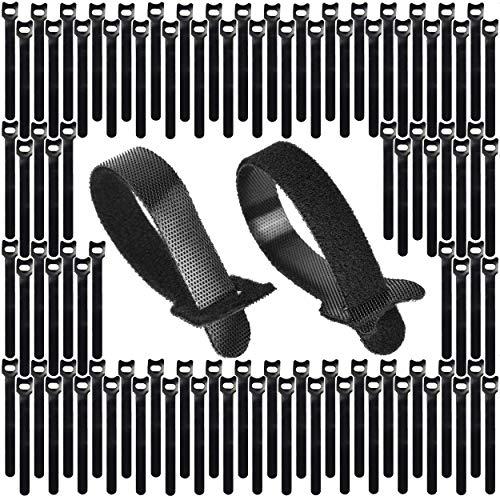Kabel Klett Binder Kabelbinder Klettverschluss 15 cm x 12 mm 100 Stück Schwarz, wiederverwendbar